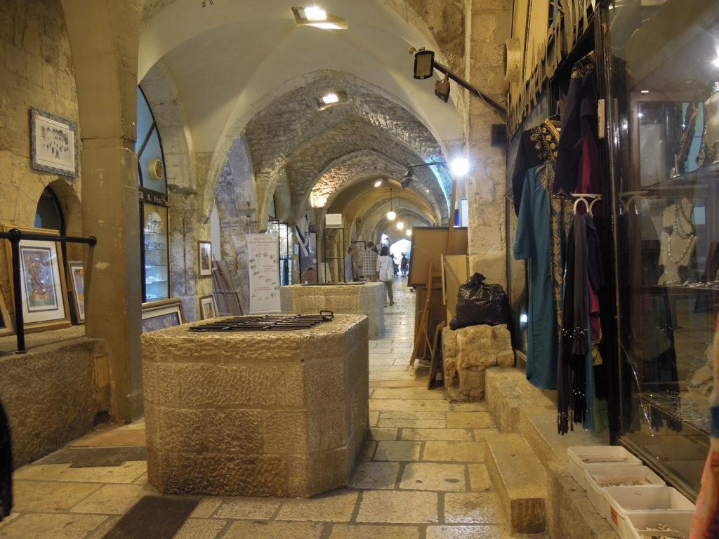 Cardo i Jerusalem med markering av de äldsta murarnas sträckning